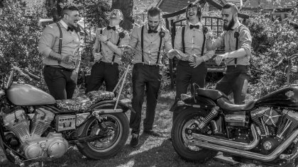 Groom, best man and ushers with the bikes from Satan Slaves North Yorks Chapter