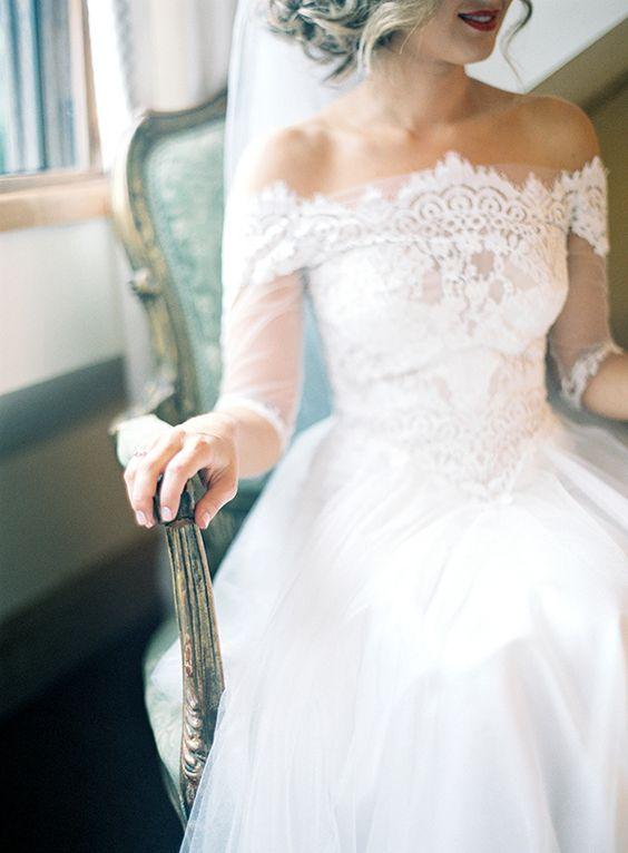 Off-shoulder wedding dress style