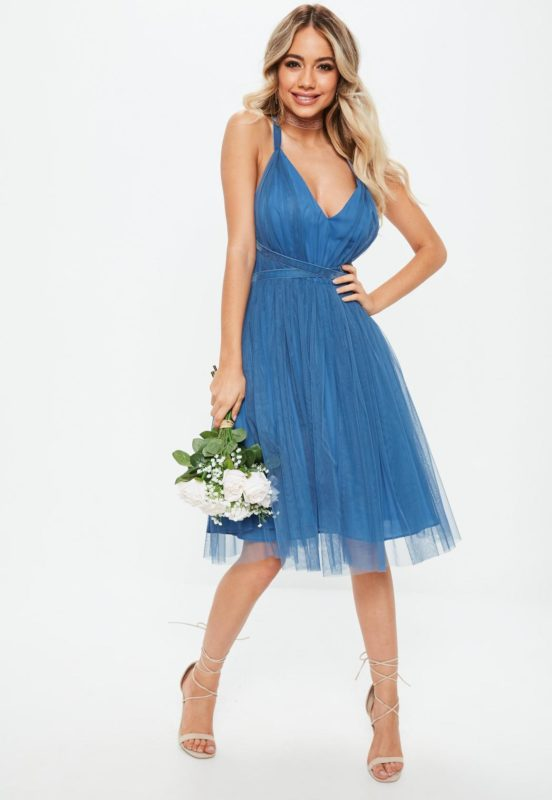 bridesmaids-blue-mesh-plunge-mini-skater-dress