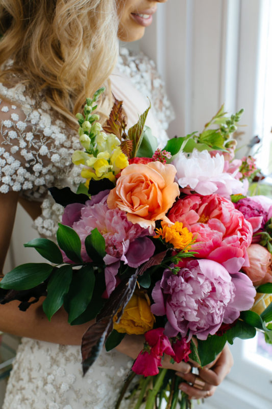 colourful peony bouquet