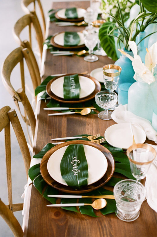 Ruffled - photo by http://kristamason.com/ - http://ruffledblog.com/tropical-leaves-and-sea-glass-wedding-shoot