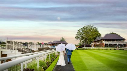Rose Gold Romance: Carla +Martin at York Racecourse