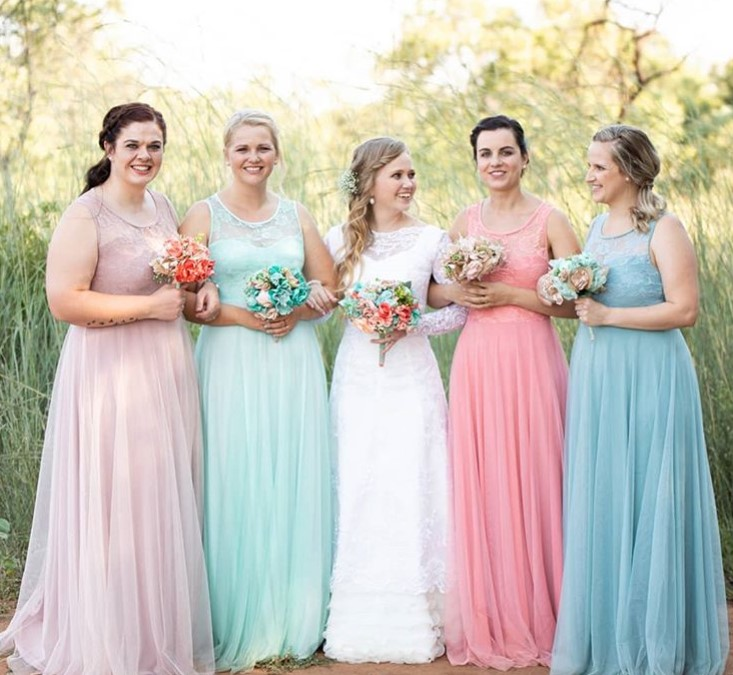 Bridesmaids - same dress different colour 2